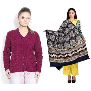 Sukuma Printed Shawl and Woolen Crdgn Cmbo of 2 Crdgn-Mgnta-Shwl-Web-Blk