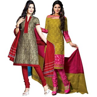 Drapes Gold And Brown Dupion Silk Embroidered Salwar Suit Dress Material (Pack of 2)