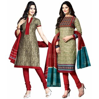 Drapes Multicolor Dupion Silk Embroidered Salwar Suit Dress Material (Pack of 2)