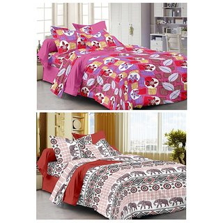 Story@Home Set Of 2 Double Bedsheet With 4 Pillow Cover -CN_1260-1241