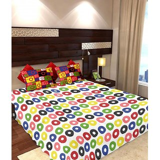Story @ Home 186 TC 100% Cotton Multicolor 1 Double Bedsheet With 2 Pillow Cover (MT1240)