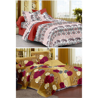 Story@Home Set Of 2 Double Bedsheet With 4 Pillow Cover -CN_1203-1260