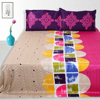 Story @ Home 240 TC 100% Cotton Pink 1 Double Bedsheet With 2 Pillow Cover (FE1127)