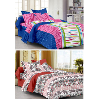 Story@Home Set Of 2 Double Bedsheet With 4 Pillow Cover -CN_1260-1268