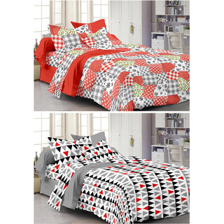 Story@Home Set Of 2 Double Bedsheet With 4 Pillow Cover -CN_1256-1257