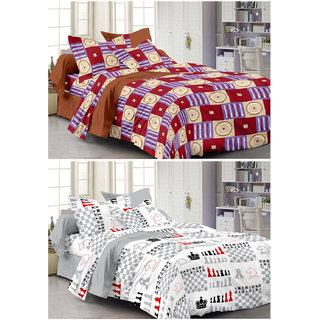 Story@Home Set Of 2 Double Bedsheet With 4 Pillow Cover -CN_1263-1229