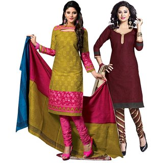 Drapes Green And Brown Dupion Silk Embroidered Salwar Suit Dress Material (Pack of 2) (Unstitched)