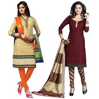 Drapes Pink And Green Dupion Silk Embroidered Salwar Suit Dress Material (Pack of 2) (Unstitched)