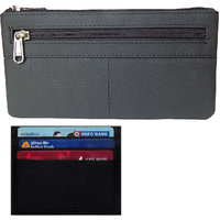 Style98 Black Genuine Leather Coin Wallet+Waist Pouch For Women And Men