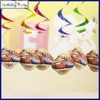 Funcart Cars Party Theme Swirl Decorations 6 Pcs/Pack