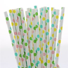 Funcart Colored Dots Paper Straw 25Pcs