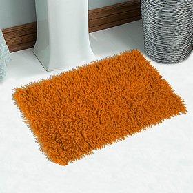 Saral Home Orange Cotton Bath Mat (24X16 Inch)
