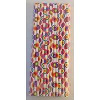 Funcart Funcart Paper Straws 25Pcs Colorful Round Design