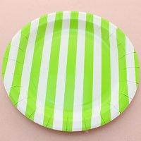 Funcart Green Sailor Striped Round 9 Plates (12 Pcs Per Pack)