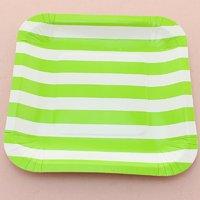 Funcart Green Sailor Striped Square 7 Plates (12 Pcs Per Pack)