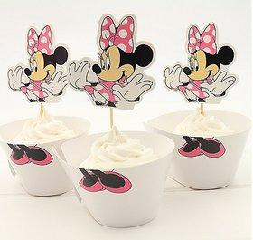 Funcart Minnie Mouse Cupcake Wraps And Picks (12 Pcs/Pa