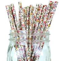 Funcart Paper Straws 25Pcs Garden Floral