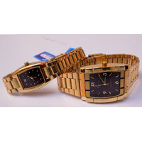 Couple Of Watches For Men  Women Black Dial Gold Strap Pair Watches