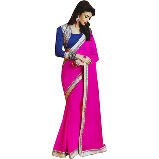 Sitaram Womens Pink georgette work saree in lace border with blouse piece