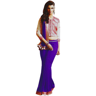 Sitaram Womens Purple georgette work saree in lace border with blouse piece