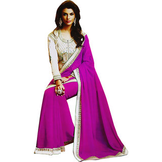 Sitaram Womens Peachpuff georgette work saree in lace border with blouse piece