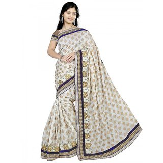 Sitaram Womens WhiteBlue colour brasoo-jacquard  sarees in embroidered lace wi