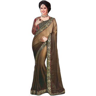 Sitaram Womens Brown georgette work saree in heavy lace border with blouse piec