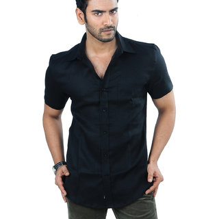 Panfilo Pure Irish Linen Black Half Sleeve Shirt: Buy Panfilo Pure ...