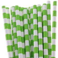Funcart Stripe Party Paper Straws 25Pcs Green