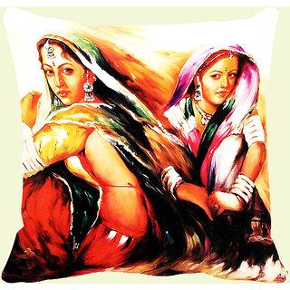 Mesleep 2 Village Girl Digitally Printed Cushion Cover