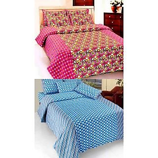 K Decor Set of Two 100 Cotton Double Bed Sheet (JL-003)
