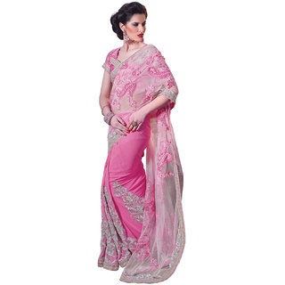 Prafful Pink Net saree with unstitched blouse