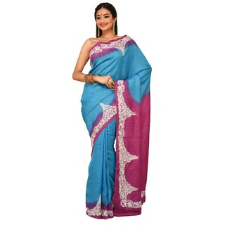 Sudeshnas boutique embroidered tussar silk handloom blue and pink color saree