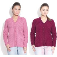 Sukuma Woolen Cardigan Combo of 2  Pink-Magenta