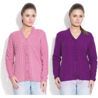 Sukuma Woolen Cardigan Combo of 2  Pink-Purple