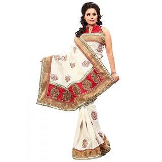 Prafful White Bhagalpuri Silk saree with unstitched blouse