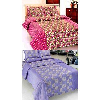 K Decor set of two 100 cotton double bedsheet(JL-013)