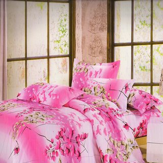 Welhouse India Flowery Plants single bed sheet with 1 pillow cover