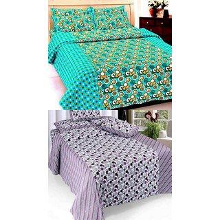 K Decor set of two 100 cotton double bedsheet(JL-015)