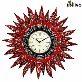Artlivo Bold Red Wooden Embossed Sunny Wall Clock