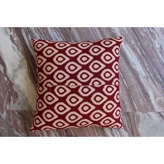 Worldoftextiles Hand block printed cotton cushion cover 16x16