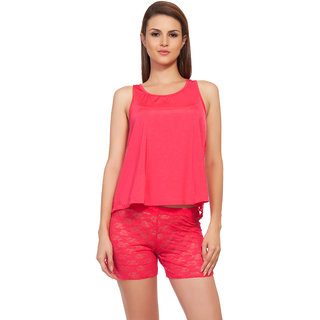 0f076996d86de2 Buy Soie Red Embroidered Sleeveless Nightsuit Sets Online   ₹1240 ...