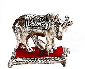 Shakti  Cow With Cute Calf Showpiece In Silver Finish