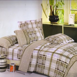 Welhouse India Green Checks Traditional single bed sheet with 1 pillow cover