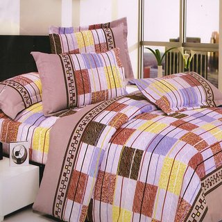 Welhouse India Handloom made light colors single bed sheet with 1 pillow cover