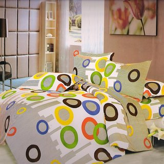 Welhouse India Geometrical single bed sheet with 1 pillow cover