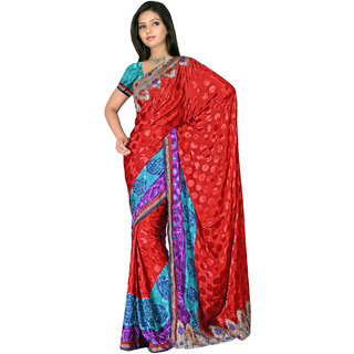 Poly Silk crape jacquard with attached lace border -17