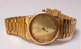 Mens Formal Gold Round Dial Gold Bracelet Wrist Watch