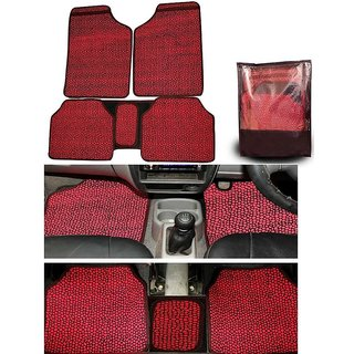 Takecare Red Odourless Car Floor Mat For Tata Safari Storme