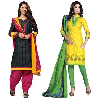 Drapes Yellow And Black Dupion Silk Embroidered Salwar Suit Dress Material (Pack of 2) (Unstitched)